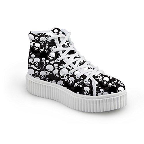 Showudesigns Stylish Black Skull Ladies Soft Creeper Trainer Flat Hightop Sneaker