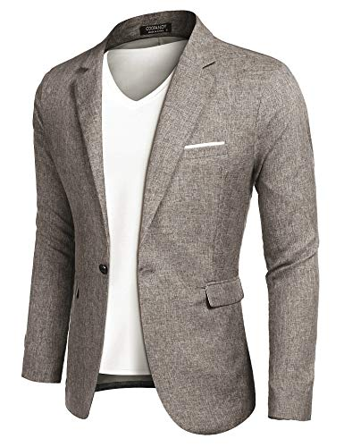 COOFANDY Men Slim Fit Suits Casual Lightweight Blazer Jackets One Button ()
