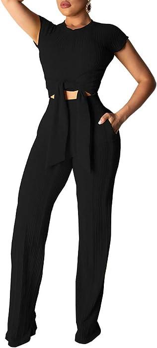 21f07822e45 Women 2 Piece Outfit Turtleneck Ribbed Knit Crop Top Wide Leg Long Pants  Set Jumpsuit. Women Short Sleeve ...