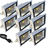 8 Pack - TDLTEK 50W LED Waterproof Outdoor Security Floodlight 100-240VAC, With Plug, Warm White