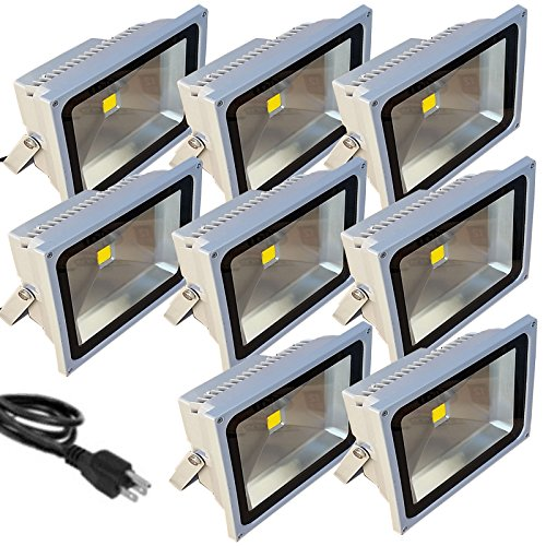 8 Pack - TDLTEK 50W LED Waterproof Outdoor Security Floodlight 100-240VAC, With Plug, Warm White by TDLTEK