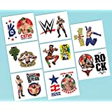 """Amscan Grand Slammin' WWE Temporary Tattoos Birthday Party Favors (16 Pack), 2"""" x 1 3/4"""", Multicolor"""