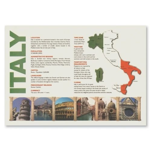 Hoffmaster Map of Italy Recycled Placemat, 10 x 14 inch - 1000 per case.