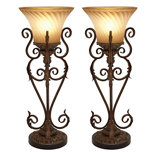 Aspire Lisette Torchiere Table Lamp Pair, (Lisette Accent)
