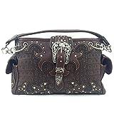 Crocodile Western Buckle Purse Rhinestone Studded Shoulder Bag w/ Concealed Weapon Pocket (Brown)