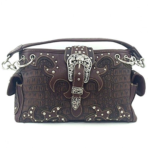 Crocodile Western Buckle Purse Rhinestone Studded Shoulder Bag w/ Concealed Weapon Pocket (Brown) (Pewter Biker Belt Buckle)