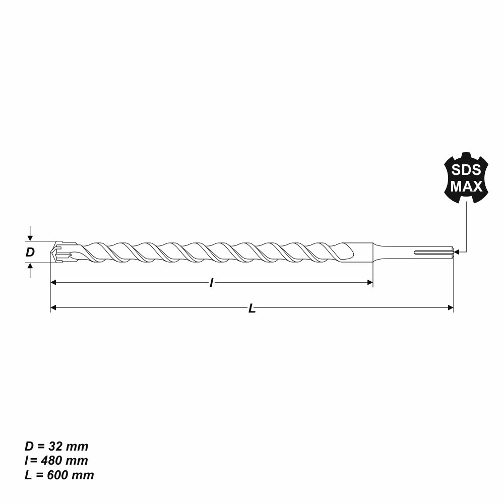 SDS-MAX Hammerbohrer Betonbohrer Ø 32 x 600 mm Quadro Stein Maurwerk Bohrer