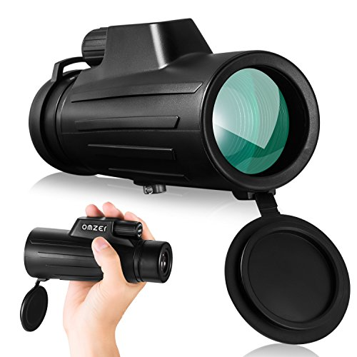 OMZER 10x42 High Power Monocular Telescope BAK4 FMC Prism, Compact HD Waterproof Monoculars With Low Night Vision For Kids Adults Bird Watching Travelling Hunting Camping hiking Outdoor Sports - Zoom Green Car
