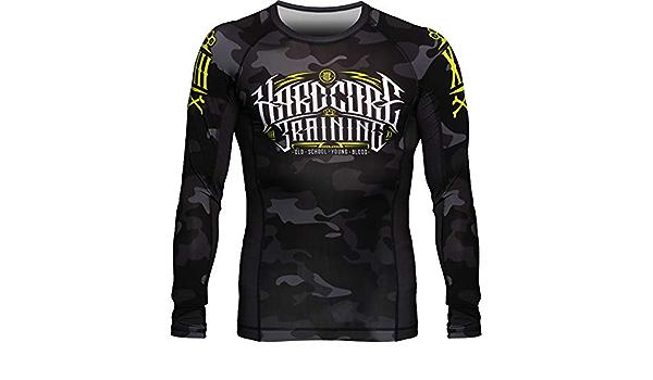 Hardcore Training Night Camo 2.0 Black//Grey Rash Guard Kompressionshemd Kinder Unisex Lange /Ärmel Kampfsport MMA BJJ Fitness Boxen No Gi