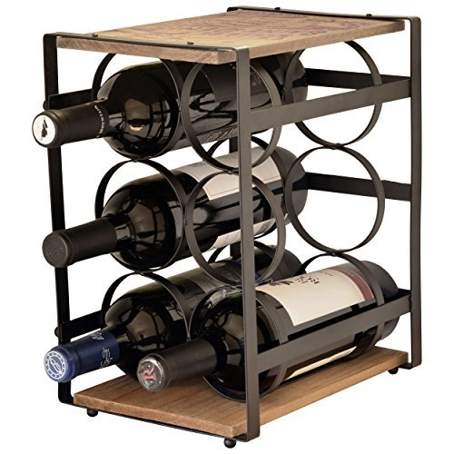 (La vie Parisienne – Iron And Wood 6 Bottle Wine Rack – Wine Stand – Wine Bottle Holder – Vintage – Parisian – (Brown))