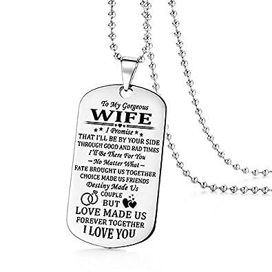 Stashix To My Gorgeous Wife I Promise I Love You Dog Tag Necklace
