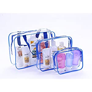 Cothyen Carry On Clear Travel Toiletry Bag, Airport Airline Compliant Bag, Carry-On Luggage Travel Backpack for Liquids Bottles Towel Underwear,3 Pack Blue(Large+Medium+Small)