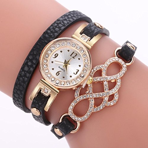 Watches for Women On Sale, Paymenow Clearance Girls Fashion Watches Casual Rhinestone Crystal Wrist Watches Bracelet Luxury Analog Watch (Black)