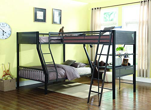 Coaster 460391-CO Meyers Collection Twin/Full Loft Bunk Bed with Built-In Ladder Slat Sides and Steel Construction, Black/Gunmetal