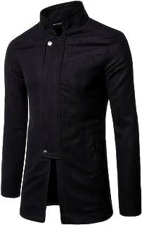 Generic Mens Slim Fit Stand Collar Long Sleeve Wool Blend Jacket