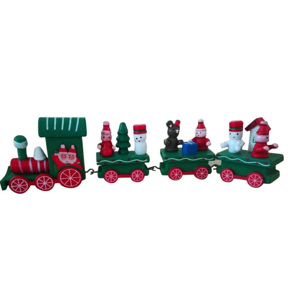 Fabal Christmas Decorations Wooden Small Train Christmas Children Toy Festive Ornament (A)