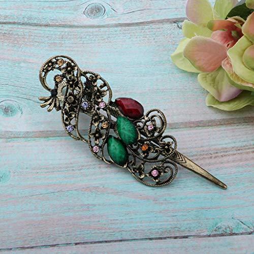 - Retro Antique Peacock Design Alligator Hair Clip for Ladies Girls (Color - Green)