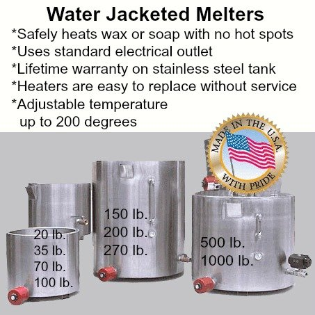 Pack of 1, 22 H x 20 W Stainless Steel 70 Lb Round Wax Melter - Water Jacketed, Fast & Safe Way to Heat Wax, Soap Or Oil