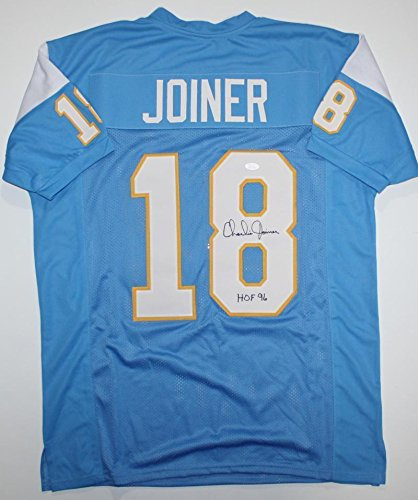 (Signed Charlie Joiner Jersey - HOF Lt Blue w Yellow Pro Style Auth *8 - JSA Certified - Autographed NFL Jerseys)