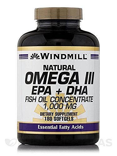 Windmill Omega 3 180 Softgels EPA and DHA Fish Oil Concentrate 1,000 Milligrams Windmill Vitamins Dietary Supplement Weight Loss Heart Health Essential Fatty Acids. Get the Daily Fatty Acids Your Body Needs! Omega 3 Formula Supports Proper Cellular Flexibility and Cardiovascular Health. Lower Blood Pressure, Cholesterol, Immune System Booster, Natural Energy Supplement, Gluten Free Supplement. For Sale