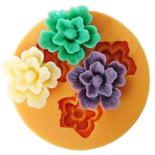 Longzang F049 Flower Fondant Silicone Sugar Craft Mold Mini Pink