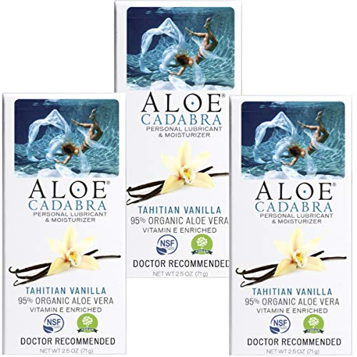 Aloe Cadabra Natural Personal Lubricant and Oranic Sex Lube for Men, Women & Couples, Flavored Tahitian Vanilla (Pack of 3)