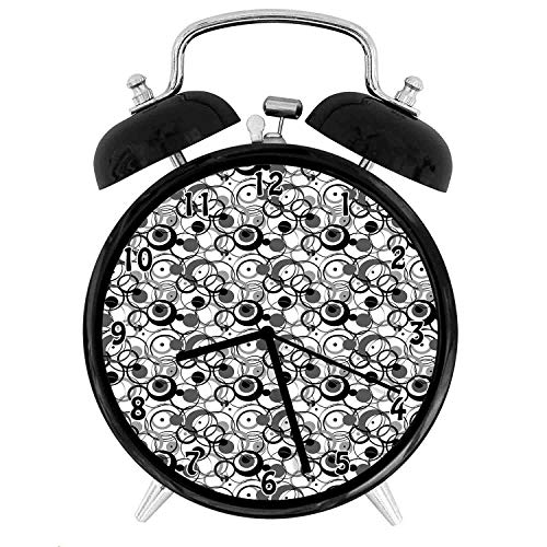 22yiihannz Monochrome Circles Dots Surreal Expressionism Geometric Modern,Battery Operated Quartz Ring Alarm Clock for Home,Office,Bedroom,Grey White_4inch