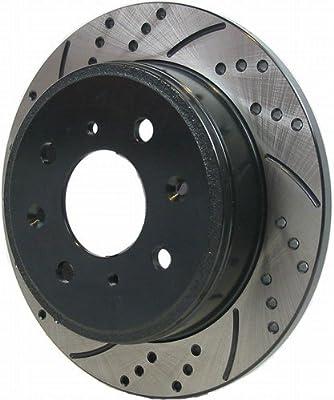 Ruedas de freno de carreras perforadas y ranuradas para Chrysler PT Cruiser (no Turbo), par trasero 00-05