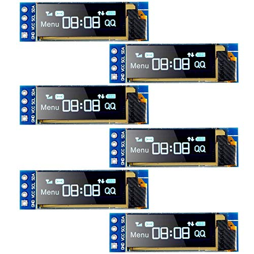 Seamuing I2C OLED Display Module I2C SSD1306 Scherm Tiny Module 091 Inch Blauw 128X32 I2C OLED Driver DC 33 V naar 5 V voor Arduino 6 Pack