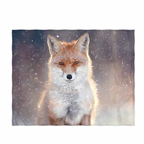 QH 58 x 80 Inch Fox Print Super Soft Throw Blanket for Bed Couch Sofa Lightweight Travelling Camping Throw Size for Kids Adults All Season (Fox Blankets)