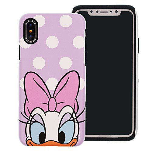 iPhone X Case [Heavy Drop Protection] Cute Daisy Duck Layered Hybrid [TPU + PC] Bumper Cover [Shock Absorption] for Apple iPhone X - Dot Daisy Duck