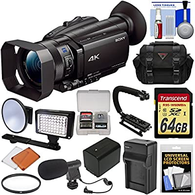 Sony Handycam FDR-AX700 4K HD Video Camera Camcorder with 64GB Card + Battery & Charger + Case + LED Light + Microphone + Stabilizer + Filter + Kit from Sony