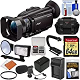 Sony Handycam FDR-AX700 4K HD Video Camera Camcorder 64GB Card + Battery & Charger + Case + LED Light + Microphone + Stabilizer + Filter + Kit