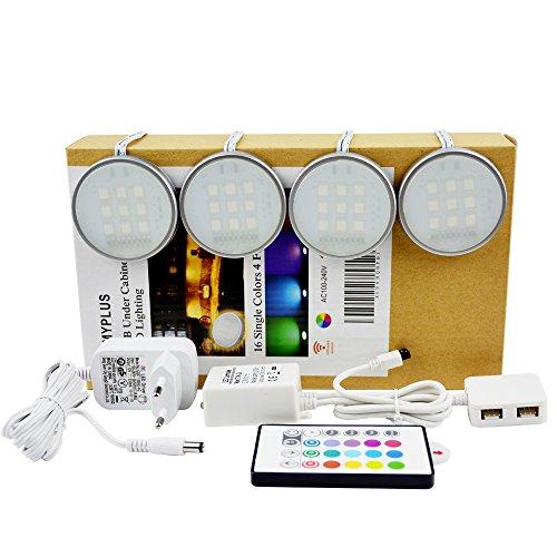Pangton Villa(TM) LED Unter Kabinettbeleuchtung, LED Aufbauleuchte,Puck Lichter und 24Key Remote-12V Adapter Controller-5050 RGB 4pcs Indoor
