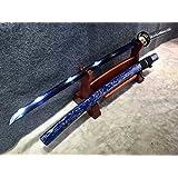 "Samurai sword/katana/T10 high carbon steel blue blade/Solid wood Scabbard/Alloy fittings/Length 39"""