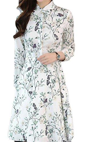 Picture Women Jaycargogo Chiffon Shirt Floral Sleeve As Dress Print Pleated Long v6drqfFwv