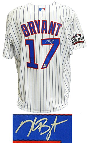 Kris Bryant Signed Chicago Cubs White Pinstripe 2016 World Series Patch Majestic Jersey