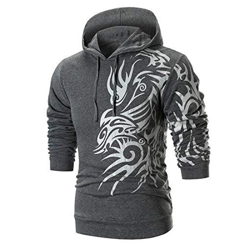 Manches Tops Aimee7 Long Mode Homme Foncé Gris T Shirt À Capuche Imprimer Manteaux Sweat Chemise wgH8pR