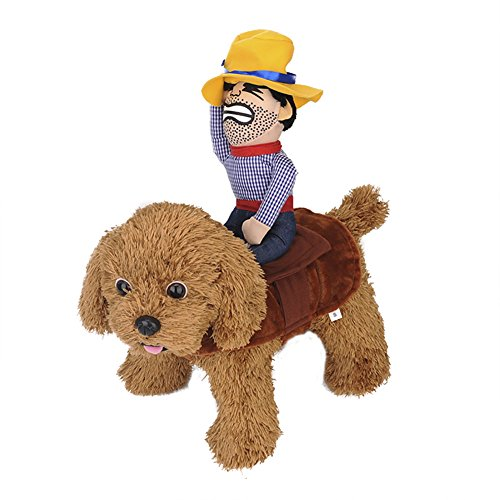 ChezAbbey Pet Costume Cowboy Rider Outfit with Hat Knight Style Super Funny Apparel for Pet Dogs Cats Medium -