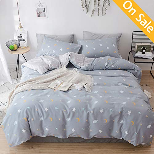 【NEWEST ARRIVAL】Moon Star Duvet Cover Queen Cotton Grey Reversible Universe Planet Space Comforter Quilt Cover Full Kids Cartoon Cute Bedding Collection with Zipper Closure for Toddler Children Teens
