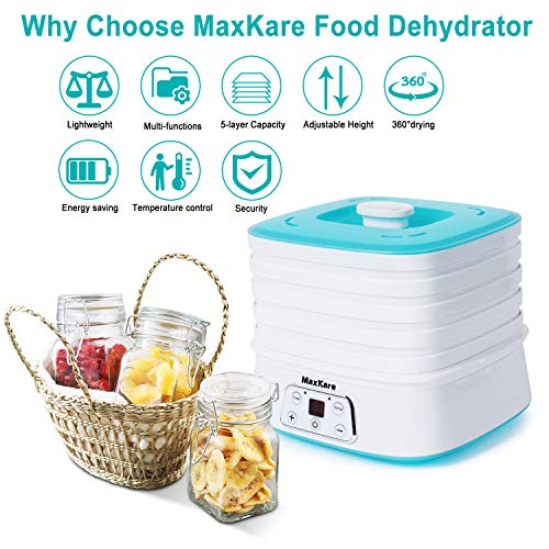 Maxkare Food Dehydrator Machine, Digital Multi-Tier Food Preservation Device with Temperature and Time Setting, Dried Fruits/Vegetables/Meat Maker, 5 Removable and Stackable Drying Trays, 210-260 watts, BPA Free by MaxKare (Image #5)