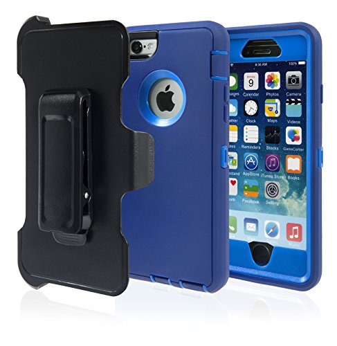 iPhone 6 Case, Phone Protective Case with Belt Clip, Hard Armor Dual Layer Protector. Rugged But Not Bulky, Shock Absorbent, Apple iPhone 6 Max Protection