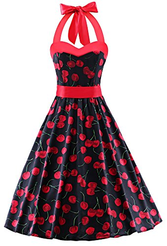 Polka Dot Cherries Snap - V Fashion 50s Rockabilly Halter Polka Dots Audrey Dress Retro Cocktail Dress Cherry Black X-Small