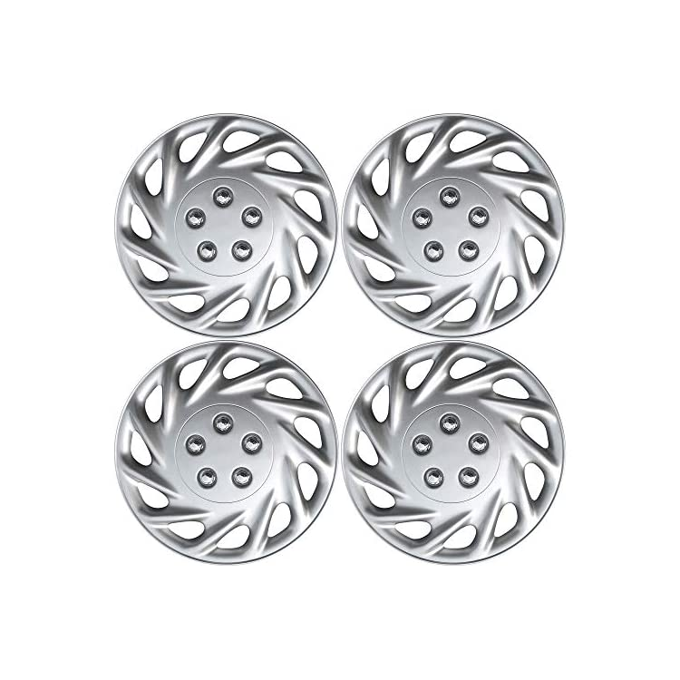 OxGord Hubcaps for 13 Inch Wheels (Pack of 4) Wheel Covers – Silver