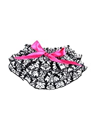 Vogholic Baby Girl Satin Ruffle Bloomers Diaper Cover Floral Bowknot Pants (L,Floral)