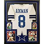 fa1a76ea7 Troy Aikman Dallas Cowboys Autograph Signed Custom Framed White Jersey  Suede.