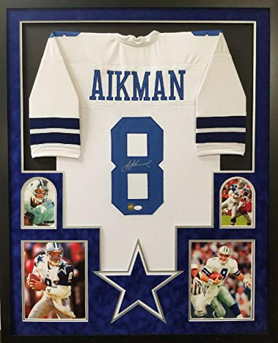 6a670c2f2 Troy Aikman Dallas Cowboys Autograph Signed Custom Framed White Jersey  Suede Mat GTSM   JSA Witnessed Certified