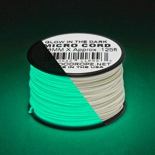 PARACORD PLANET Glow in The Dark & Reflective Micro Cord: 1/16