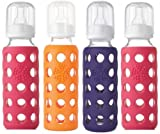 Lifefactory Bpa-free Glass Baby Bottle - 4 Pack (9 oz.), Raspberry/Orange/Purple