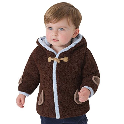 Little Youngster, Hooded Winter Jacket for Boys with Pockets, Neck Tie (24M)